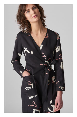 Abella Tie Linen Jumpsuit, in Black/Multi on Whistles