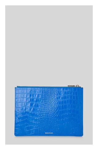 Sea Blue Croc Medium Clutch, in Blue on Whistles
