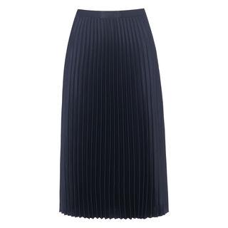 Satin Pleated Skirt, in Navy on Whistles