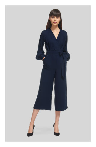 Mika Wrap Tie Jumpsuit, in Navy on Whistles