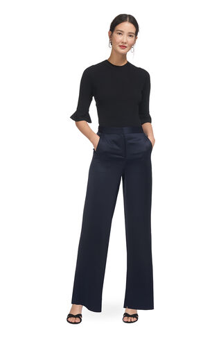 Satin Wide Leg Trouser, in Navy on Whistles