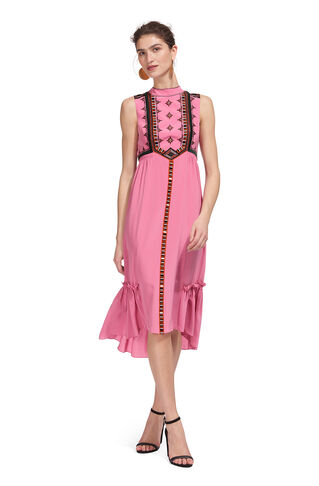 Avery Embroidery Silk Dress, in Pink/Multi on Whistles