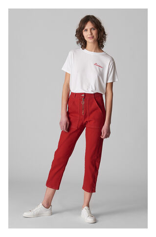 Contrast Stitch Jean, in Red on Whistles