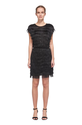 Ezra Sparkle Tassle Dress, in Black on Whistles