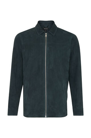 Suede Overshirt, in Dark Green on Whistles