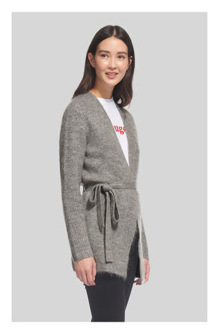 Mohair Belted Cardigan, in Grey Marl on Whistles