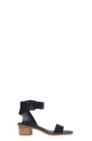 Lennox Cuff Mid Block Sandal, in Black on Whistles