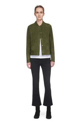 Magda Suede Jacket, in Dark Green on Whistles