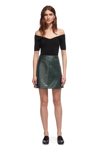Leather Croc A-line Skirt, in Dark Green on Whistles