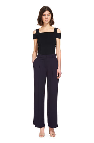Soft Crepe Trouser, in Navy on Whistles