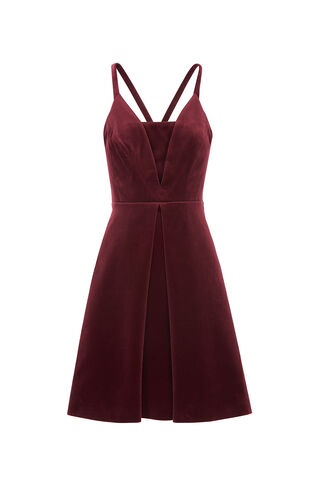Suzie Velvet Dress, in Burgundy on Whistles