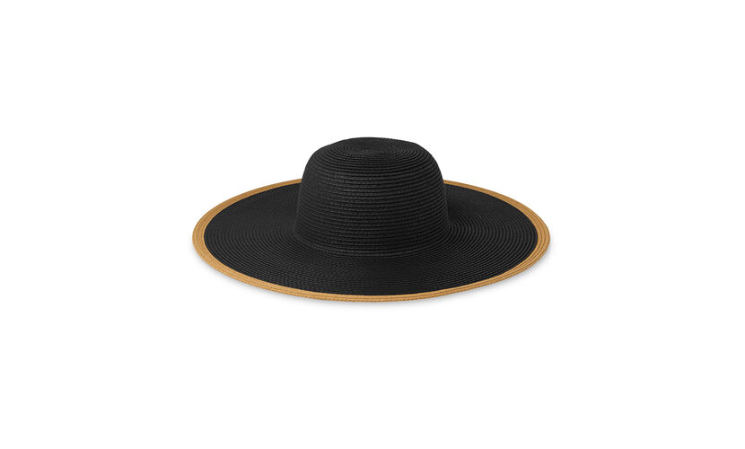 Wide Contrast Brim Sun Hat, in Black/Multi on Whistles