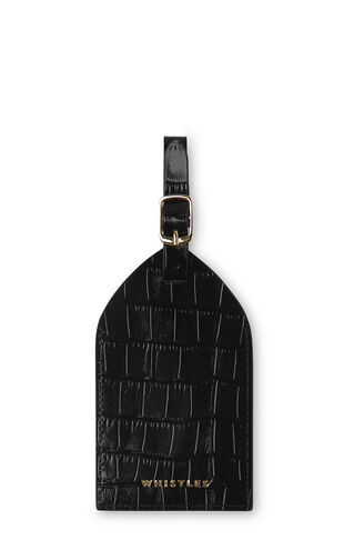 Shiny Croc Luggage Tag, in Black on Whistles