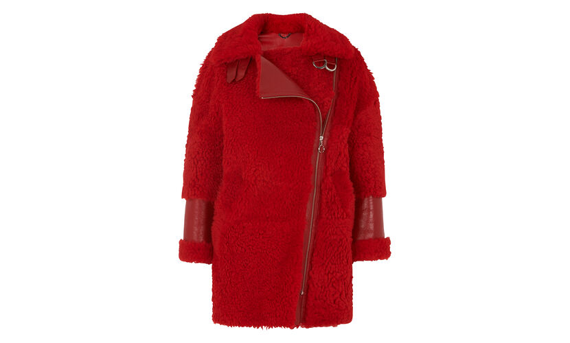 Erica Shearling Biker, in Red on Whistles