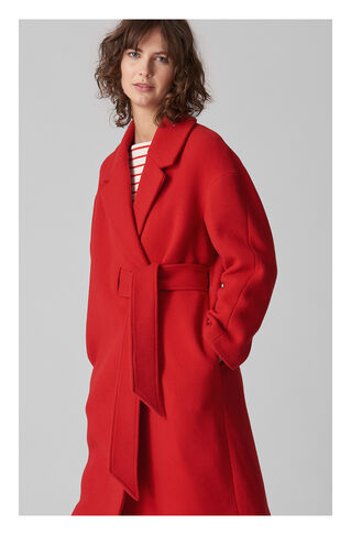 Magdelina Belted Wrap Coat, in Red on Whistles