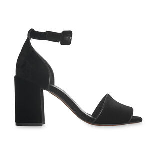 Black Hedda Velvet Heel Sandal, in Black on Whistles