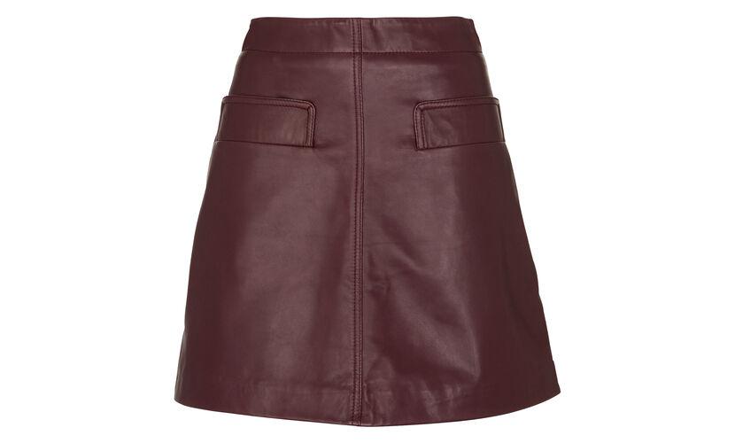 Rita Leather Skirt, in Burgundy on Whistles