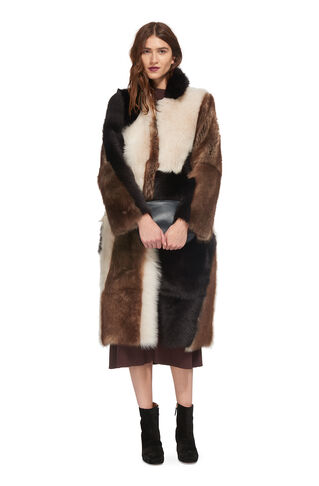 Mia Patchwork Sheepskin Coat, in Multicolour on Whistles
