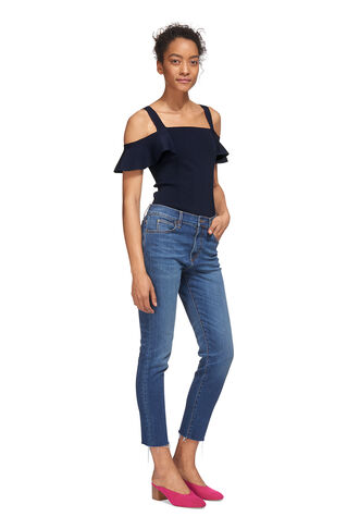 Double Strap Frill Bardot Knit, in Navy on Whistles