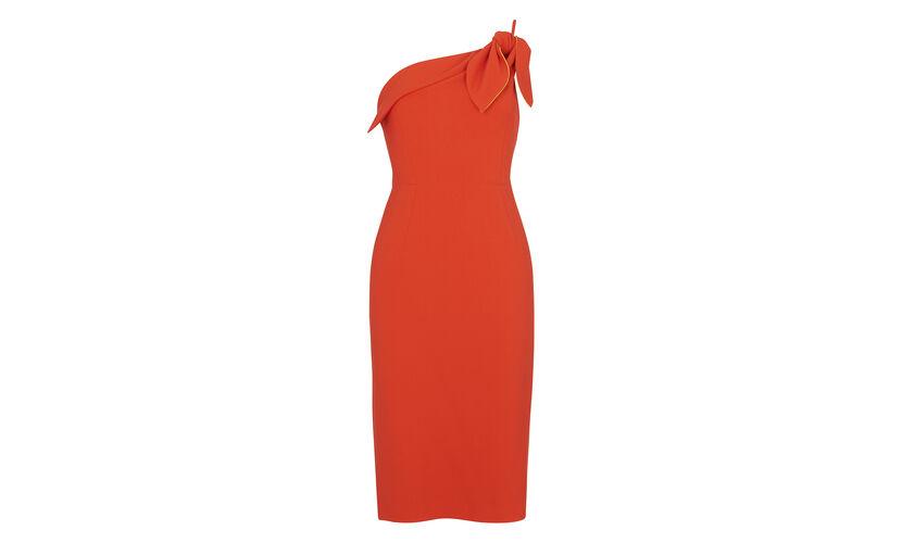 One Shoulder Bow Dress, in Orange on Whistles