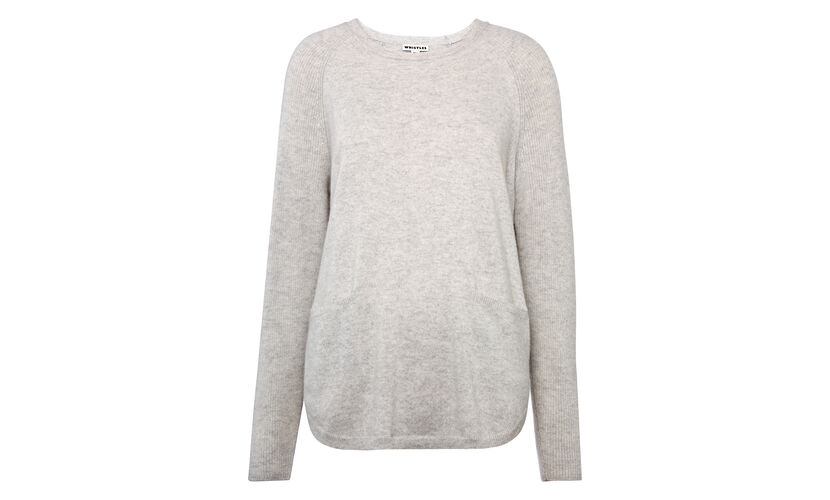 Cashmere Ribbed Sleeve Knit, in Pale Grey on Whistles