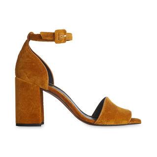 Hedda Velvet Block Heel Sandal, in Yellow on Whistles