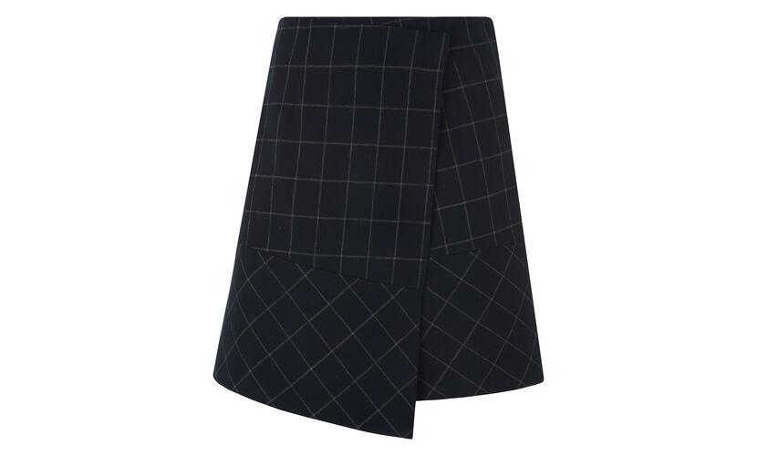 Window Pane Check Amber Skirt, in Navy on Whistles