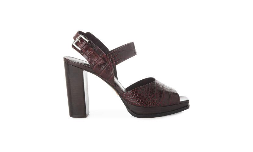 Laxo Croc Platform Sandal, in Burgundy on Whistles