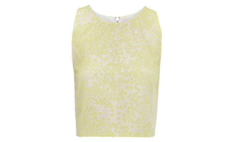 Lorna Jacquard Stripe Crop Top, in Yellow on Whistles