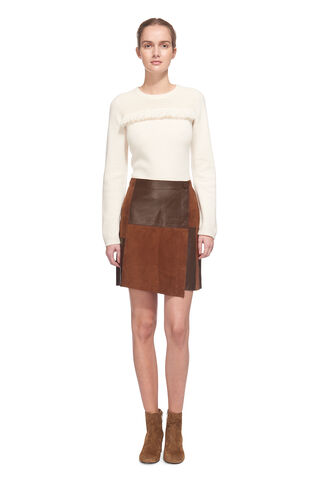 Jaz Suede Patch Skirt, in Tan on Whistles