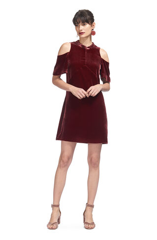 Evelyn Velvet Dress, in Burgundy on Whistles