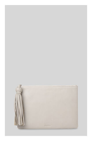 Supersoft Large Tassel Pouch, in Pale Grey on Whistles