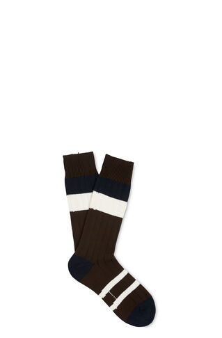 Stripe Cotton-Blend Socks, in Brown on Whistles