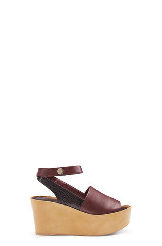 Telia Wrap Ankle Wedge, in Burgundy on Whistles