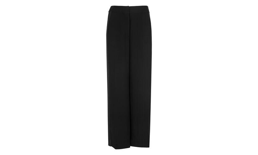 Satin Stripe Wide Leg Trouser, in Black on Whistles