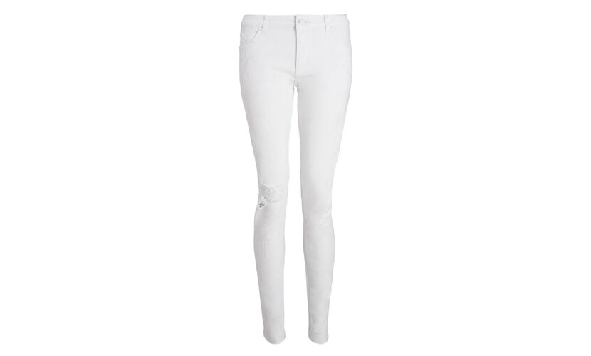 Distressed White Skinny Jeans, in White on Whistles