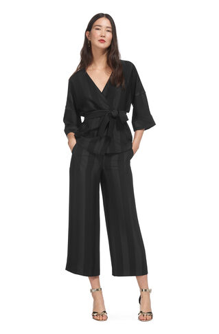 Satin Stripe Kimono Jacket, in Black on Whistles
