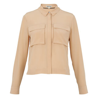 Cropped Silk Shirt, in NUDE on Whistles