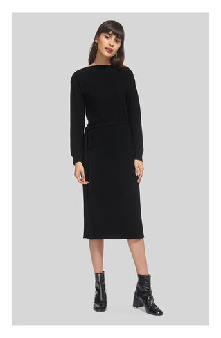 Textured Tie Waist Knit Dress, in Black on Whistles