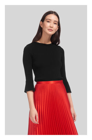 Frill Cuff Boat Neck Knit, in Black on Whistles