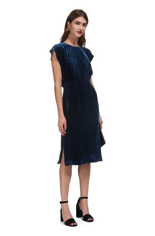 Nicole Cut Out Velvet Dress, in Sapphire Blue on Whistles