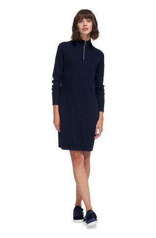 Zip Front Funnel Neck Dress, in Navy on Whistles