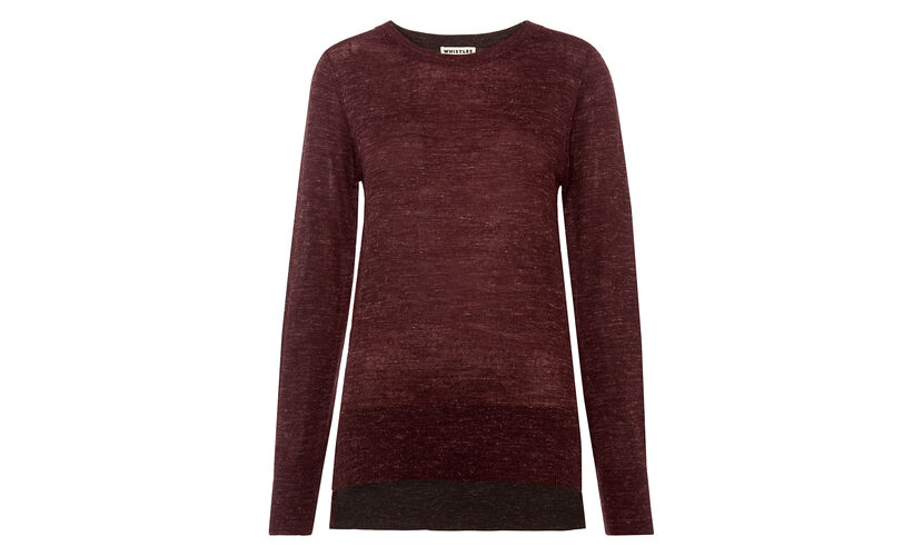 Split hem Marl Knit, in Burgundy on Whistles