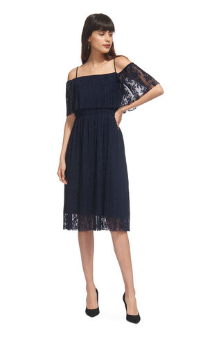 Off Shoulder Pleated Dress, in Navy on Whistles