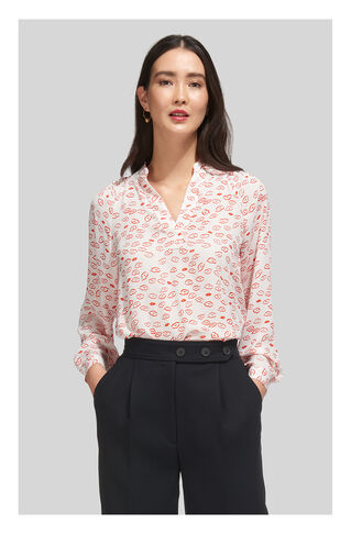 Catalina Lips Print Blouse, in Ivory/Multi on Whistles