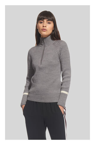 Rib Zip Front Chunky Knit, in Grey Marl on Whistles