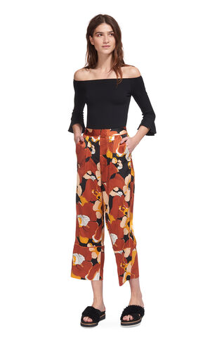 Abstract Floral Silk Trouser, in Multicolour on Whistles