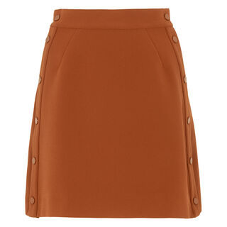 Popper Side A-line Skirt, in Rust on Whistles