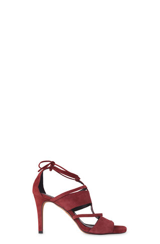 Brea Caged Stiletto Sandal, in Burgundy on Whistles