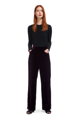 Corinna Velvet Trouser, in Fig on Whistles